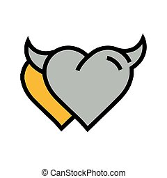 Devil Heart icon twins  yellow