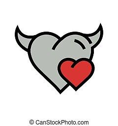 Devil mini Heart icon red