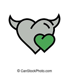 Devil mini Heart icon  green