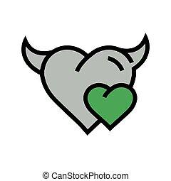 Devil mini Heart icon  green