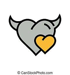 Devil mini Heart icon  yellow