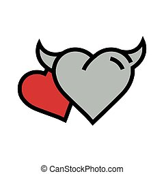 two Devil Heart icon red