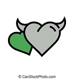 two Devil Heart icon  green