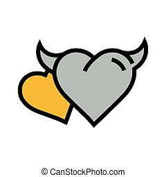 two Devil Heart icon  yellow