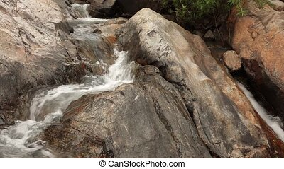 Mountain River Scene - A mountain river waterfall scene with...