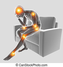 3d Illustration of men  with joint pain