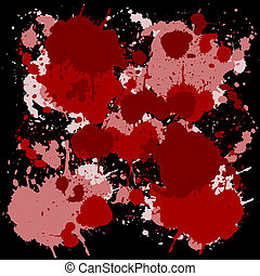 Red ink spots on black background