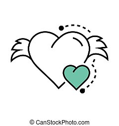 Vector Icon Hearts wings blue