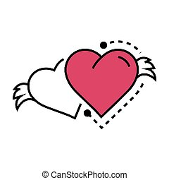 Two Icon Hearts wings pink