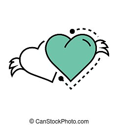 Two Icon Hearts wings blue