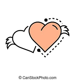 Two Icon Hearts wings line design
