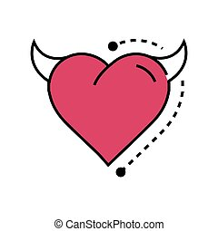 Line icon Style Heart Devil pink