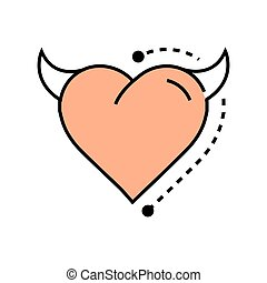 Line icon Style Heart Devil design