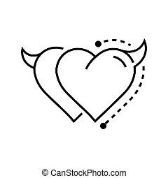 Two Line icon Style Heart Devil