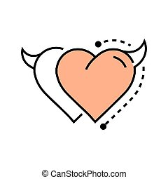Two Line icon Style Heart Devil design
