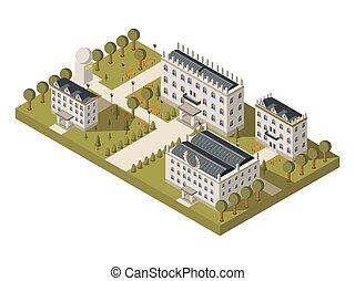 Isometric University Concept - Isometric university concept...