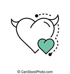 Line icon Style Heart Devil Color blue