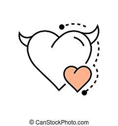 Line icon Style Heart Devil Color  design
