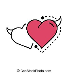 Twins Line icon Style Heart Devil pink