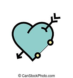 arrow on heart icon blue