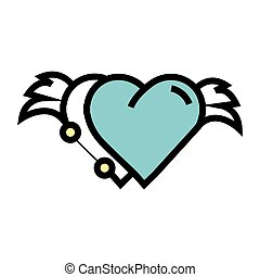 Two Hearts wings pen tool design blue