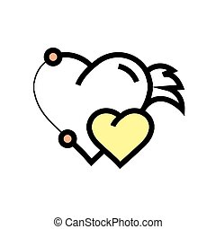 Twins Hearts wings pen tool design yellow