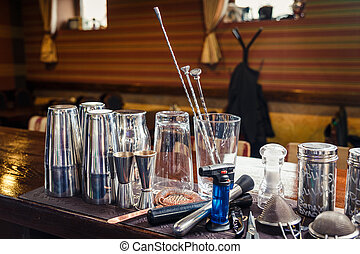 Bartender tools on bar at the night club
