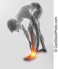 3d Illustration of Male foot with ankle pain