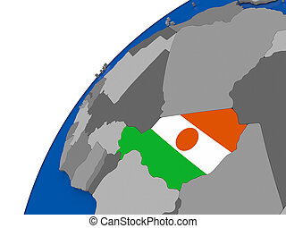 Niger with flag on political globe - Niger with embossed...