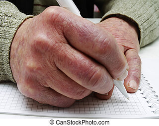 Closeup of the wrinkled hands of an old caucasian man...