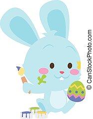 Easter rabbit painting egg vector art