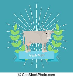 Blue label design with cow animal in flat style. Vector...