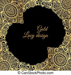Gold lacy ornamental card design