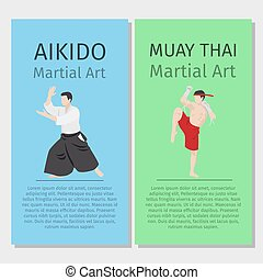 Asian martial arts vector flyers set. Aikido and Muay Thai...