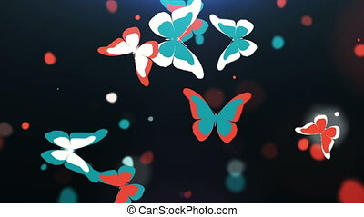 Beautiful colorful butterflies flying - Flock of beautiful...
