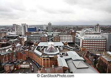 Coventry in West Midlands, England. Old town aerial view...