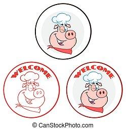Winking Chef Pig Cartoon Mascot Character Circle Banner....