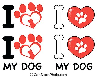 I Love Paw Print Logo Design 03. Collection Set