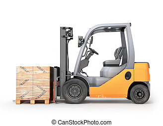 Forklift with boxes in a pallet. Isolated white background....