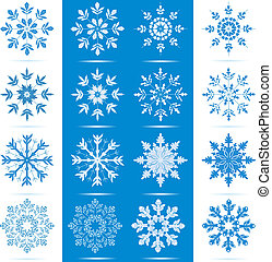 Snowflake Icon Set - Icon set of 8 different snowflakes -...