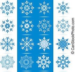 Snowflake Icon Set - Icon set of 8 different snowflakes -...