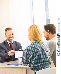Salesman offering contract - Agreement or contract concept....