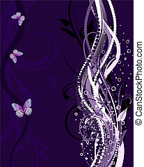 abstract vertical pattern with butterflies