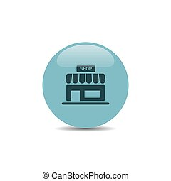 Shop icon on a blue round button