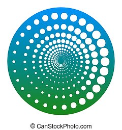 Abstract technology circles sign. Vector. White icon in...