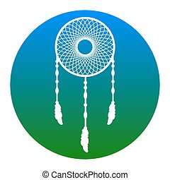 Dream catcher sign. Vector. White icon in bluish circle on...