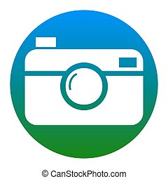 Digital photo camera sign. Vector. White icon in bluish...