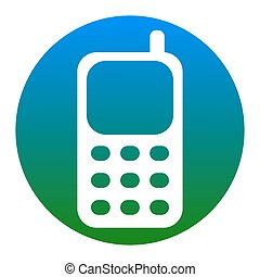 Cell Phone sign. Vector. White icon in bluish circle on...