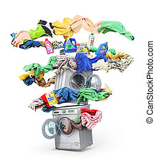 The big washing concept. The big vortex of clothes around washing machine with bottles. Isolated on a white background