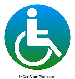 Disabled sign illustration. Vector. White icon in bluish...